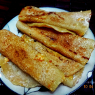Patishapta(Wheat flour and semolina pancakes with a filling of caramellised carrot and coconut)