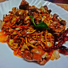 Chicken liver stir fry with noodles