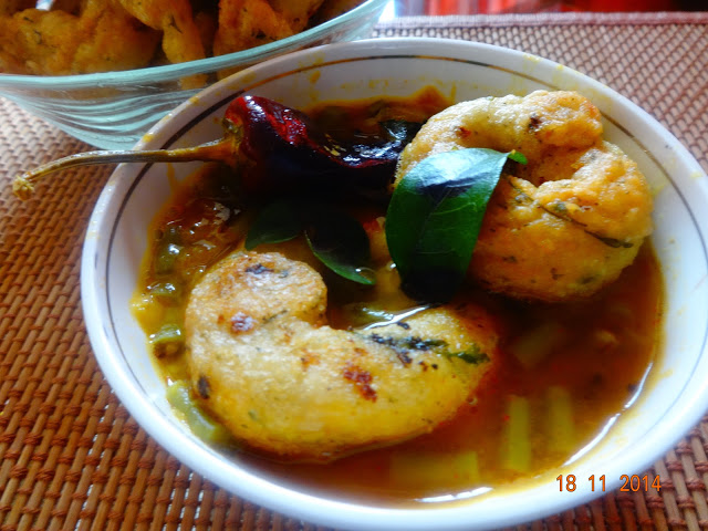 Medu vada and Sambar[snacks made from split black gram lentils]