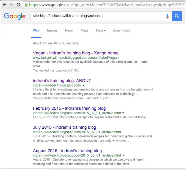 searching how many pages have been indexed by Google