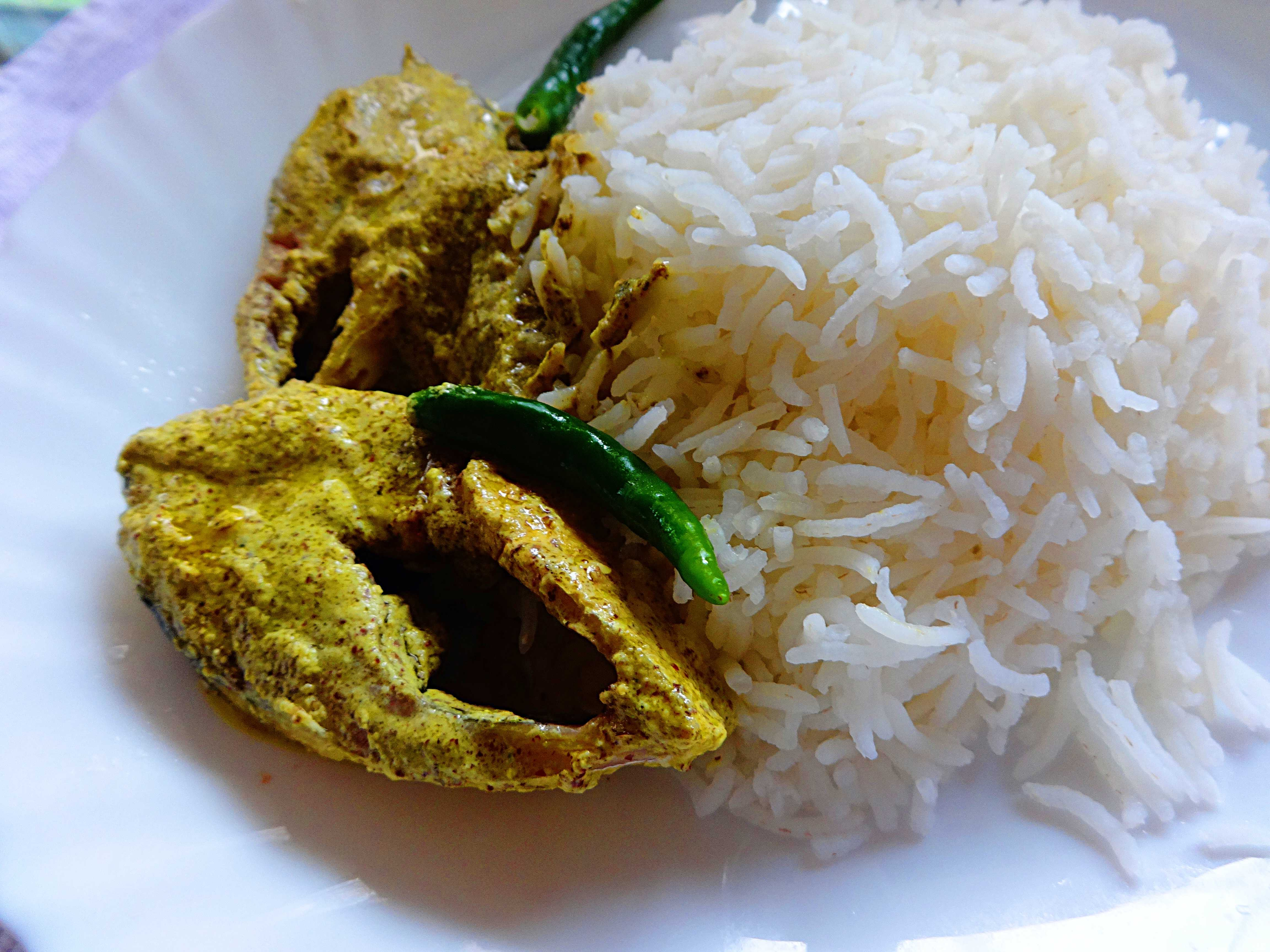 Ilish machh bhape(steamed hilsa fish in mustard sauce)