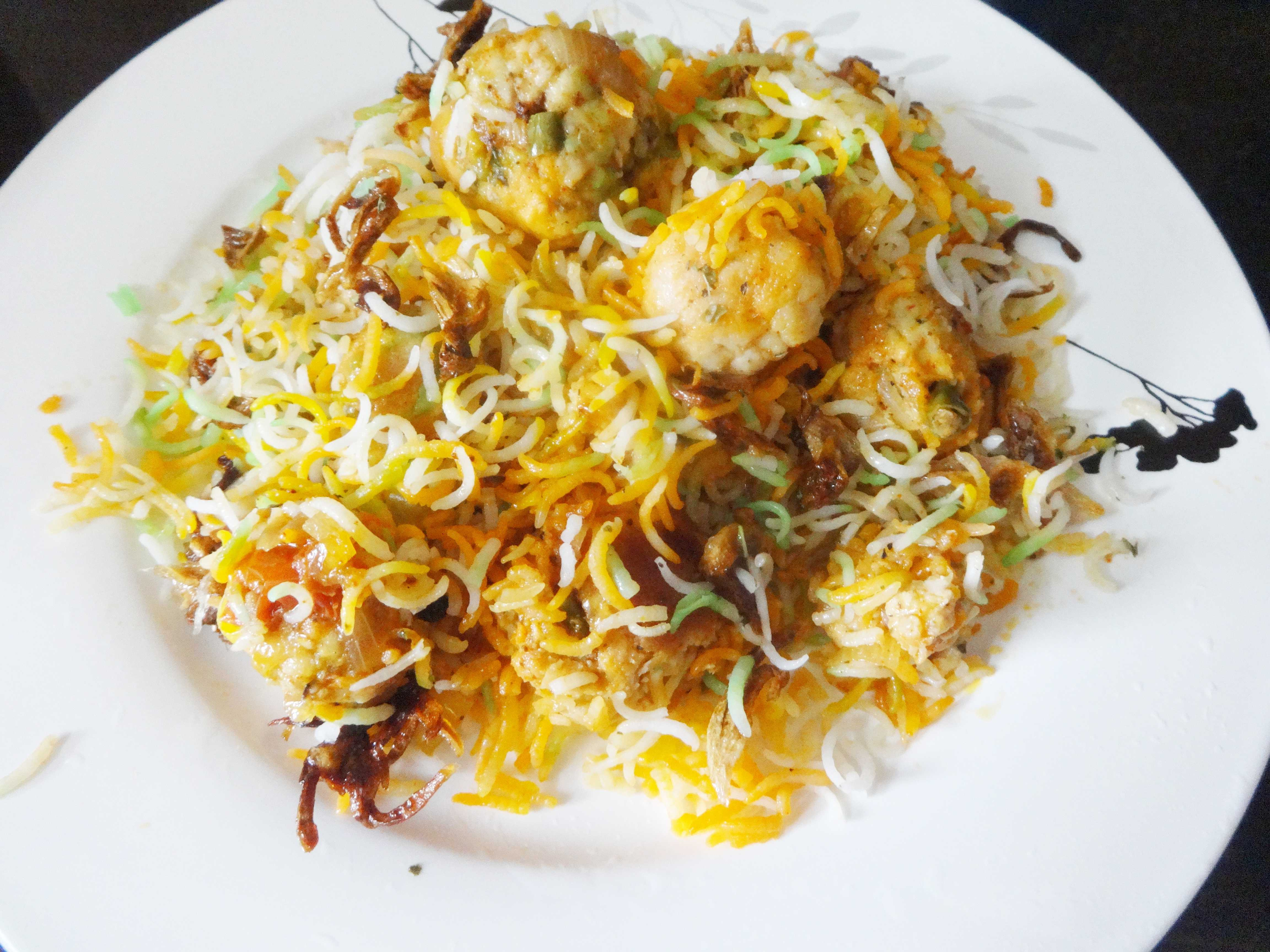 Moti Biriyani/Biryani(rice and meat ball casserole)