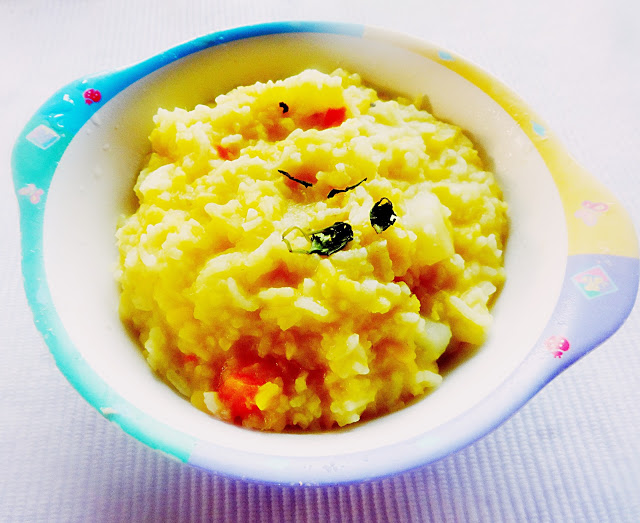 Kacha moong daler khichuri(Rice and lentils cassarole with vegetables)