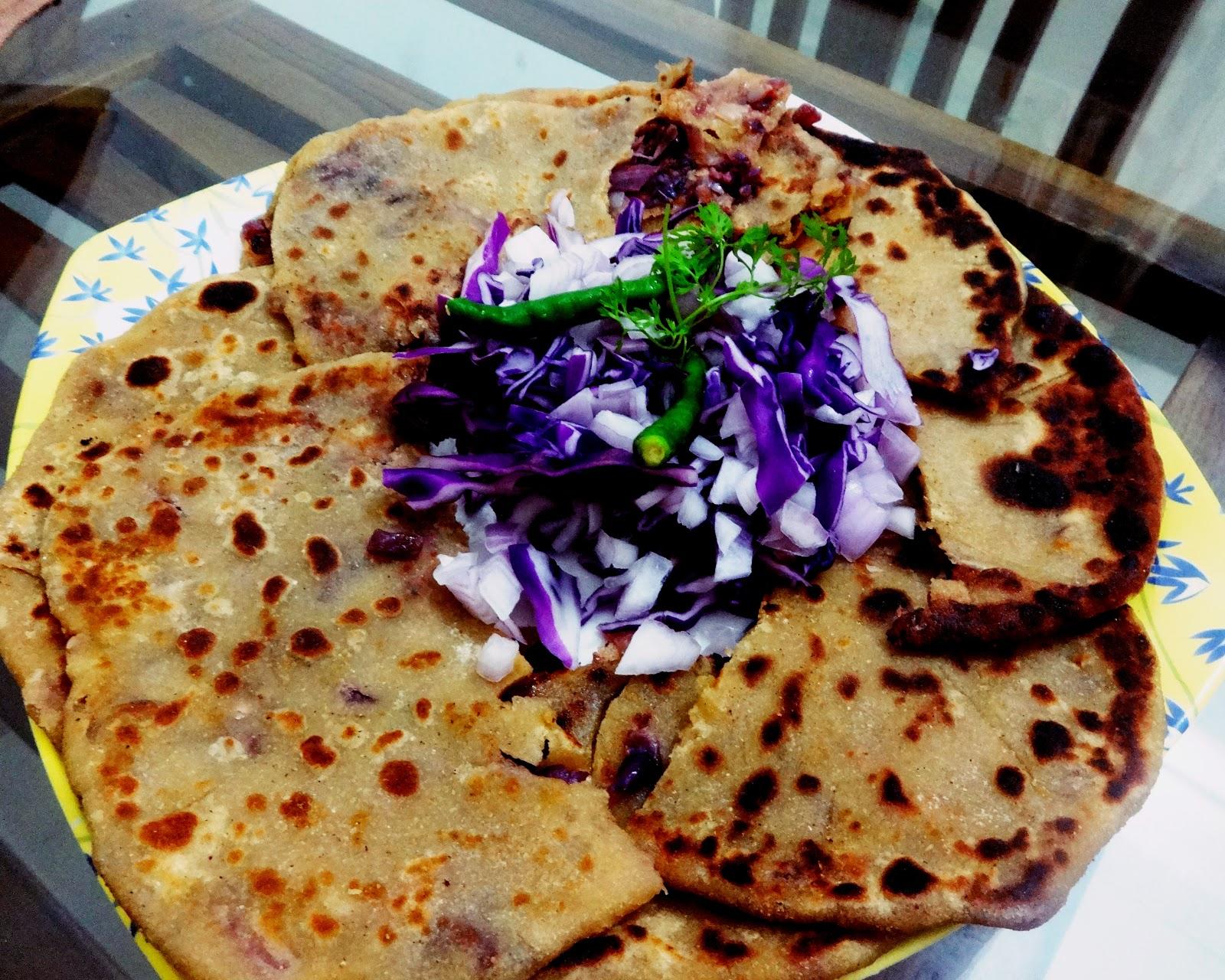 Purple cabbage stuffed paratha(Purple cabbage stuffed Indian flatbread)