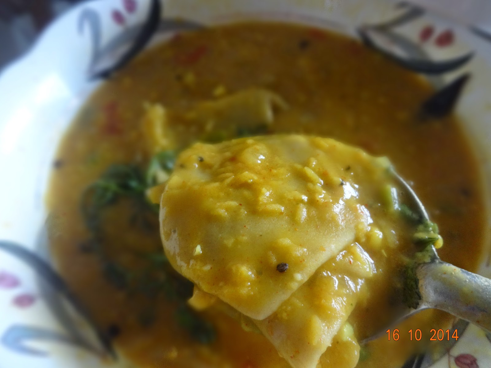 Dal Phool Curry(Handmade flat flower shaped pasta in lentil curry)