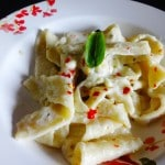 Homemade Fettuccine pasta from scratch with Bechamel sauce