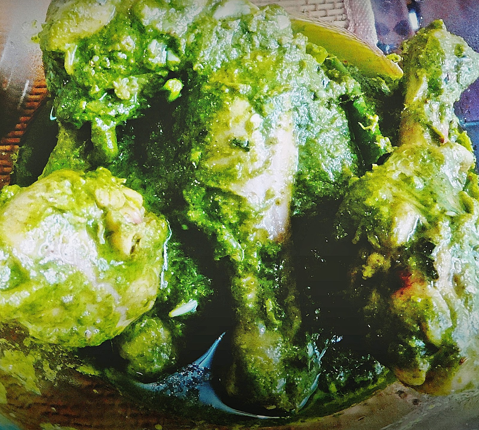 Green herb chicken