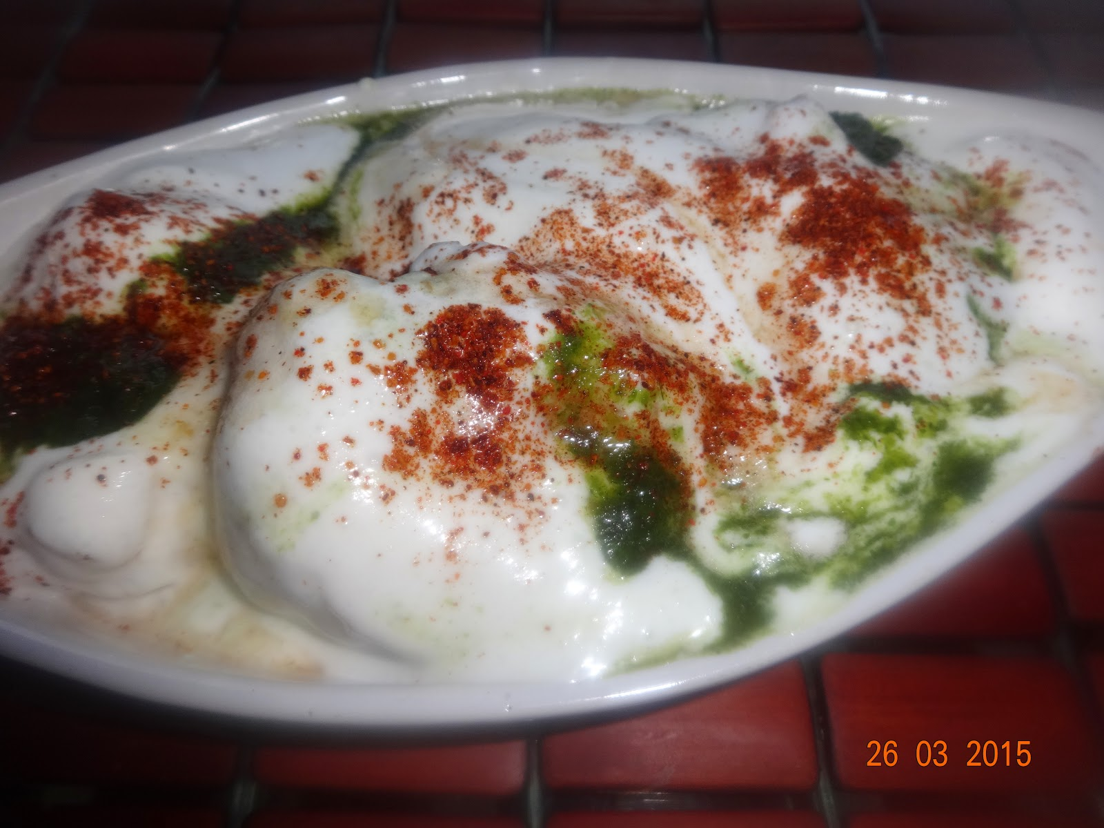 Ice-Creamy Dahi vada (Lentil fritters in rich yoghurt and ic-cream sauce)