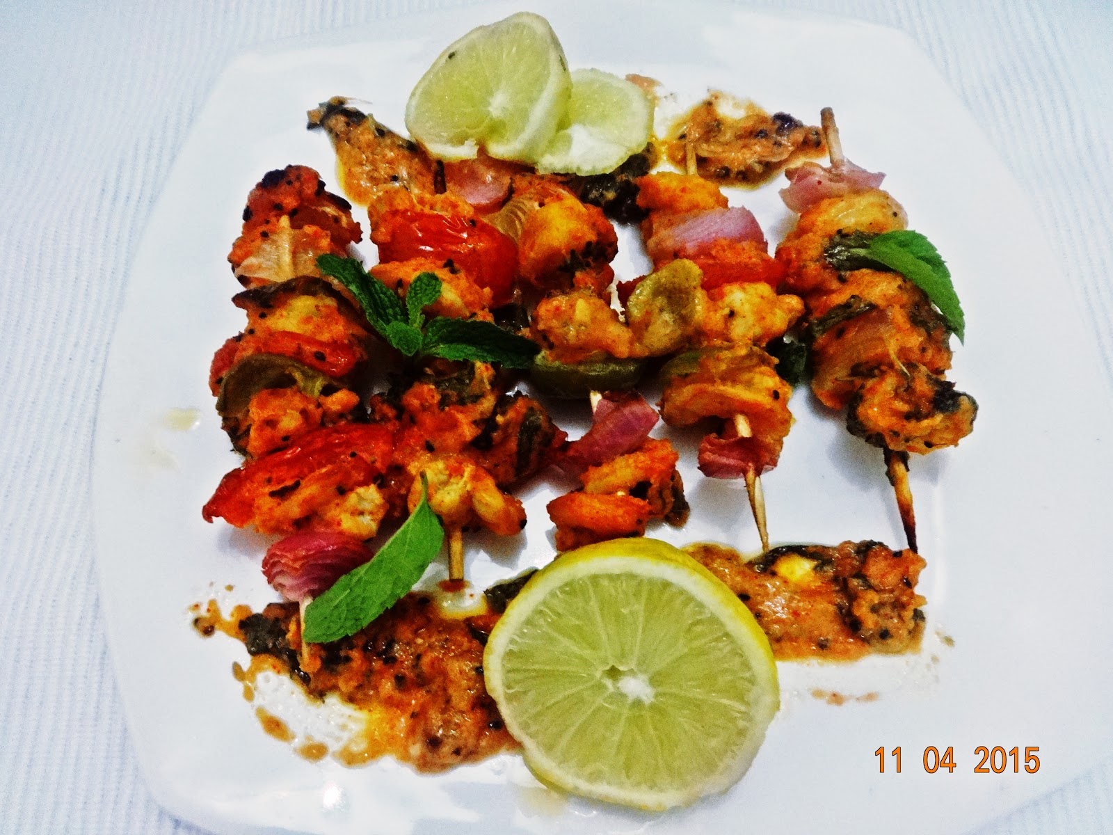 Lemon mint grilled prawns