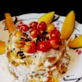 Mango and white chocolate cake with aquafava