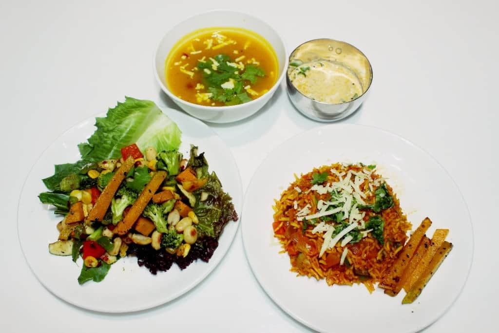 Pumpkin soup, pumpkin Biryani and raita