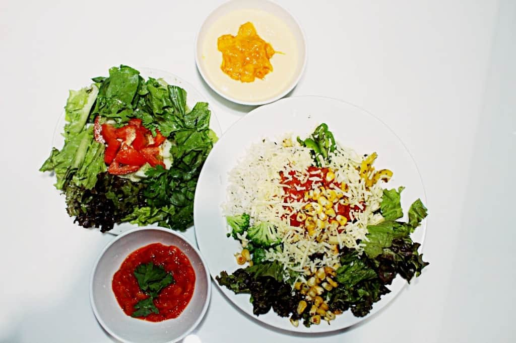 Rice with Mexican mango curry , salad,creamy mango dip