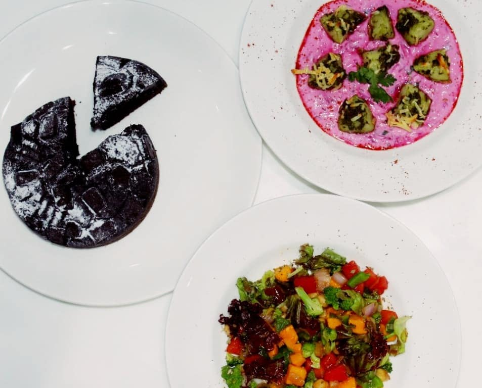 Mango salsa, Potato beetroot raita,whole wheat chunk chocolate cake