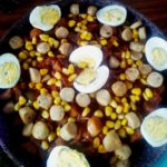 Pan fried sweet potato with eggs and chicken sausage by Moumita