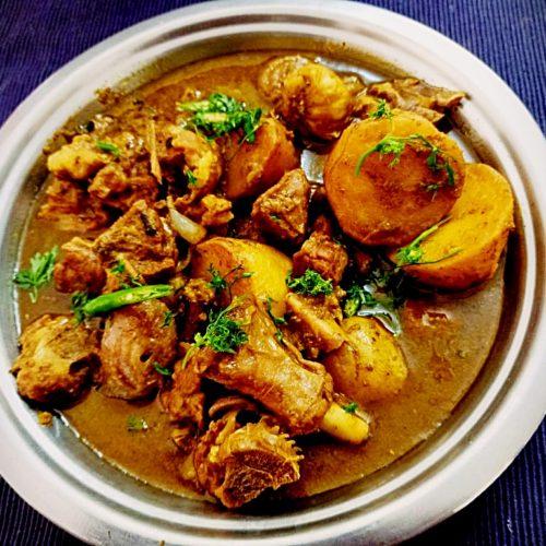 Coriander mutton curry