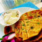 Stuffed whole peas Paratha[Flat Indian bread stuffed with green peas]