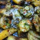 Prawns and potato platter in cilantro sauce