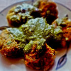 Oats and vegetable  tikkis  with green coriander and yoghurt sauce
