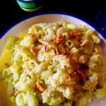 elbow macaroni with Green garlic and walnut pesto
