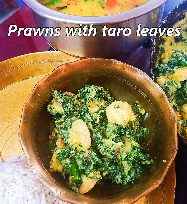 prawn taro leaves